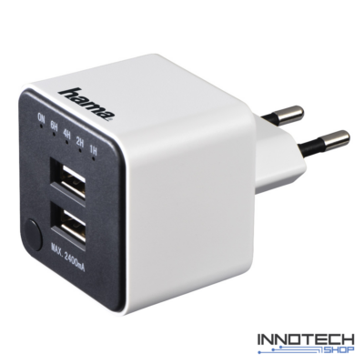 Hama hálózati USB dupla töltő időzítővel 2,4 A (2 db USB aljzat) (121987)