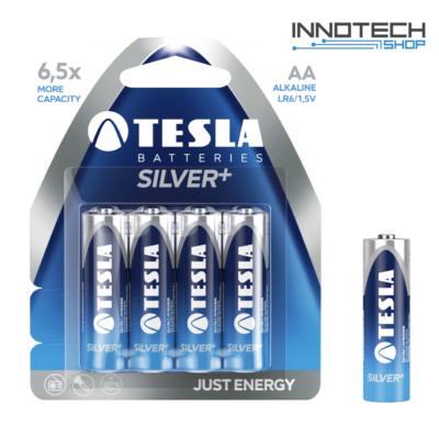 Tesla Batteries Silver+ AA alkáli tartós ceruza elem (Silver Plus, LR6, 1,5V) - 4 db / csomag