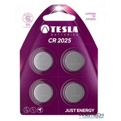 Tesla Batteries CR2025 lithium gombelem (Lithium, gomb elem, CR2025, 3 V) - 4 db / csomag