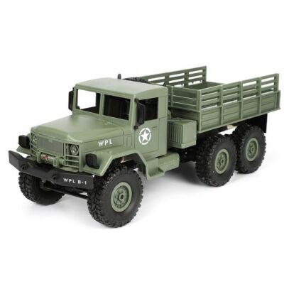 WPL B16 6x6 Military Truck távirányítós óriás amerikai katonai szállító jármű 41cm 2.4GHz 6WD 1:16 U.S. Army harci RC teherautó munkagép - zöld